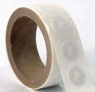 NFC tags with optional unprinted stickers as typically provisioned on a roll by semiconductor manufacturers.